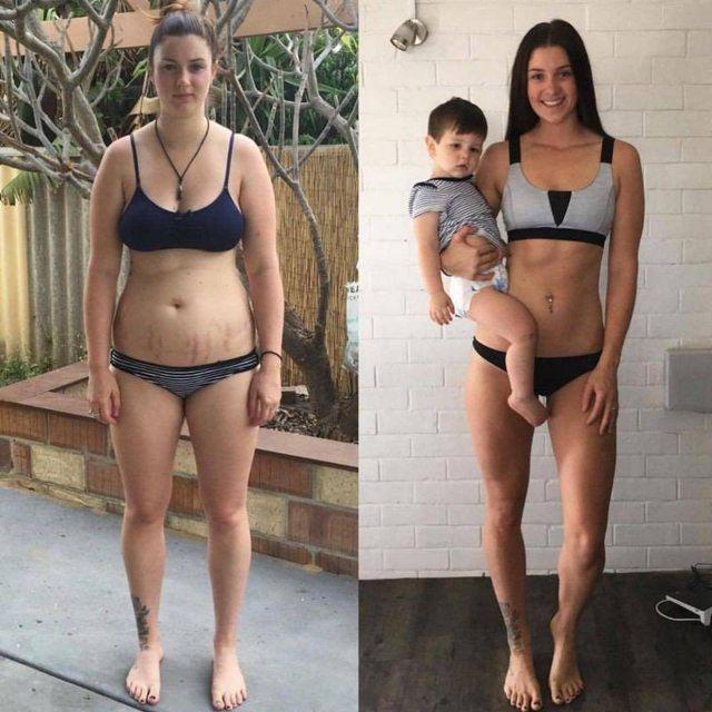 Женщина после родов и через год