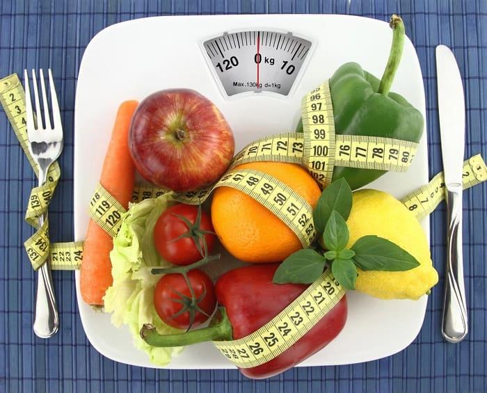 Тарелка с овощами и фруктами, перемотанная сантиметром