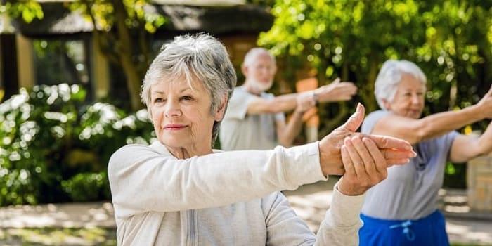 Пожилые люди занимаются гимнастикой на природе