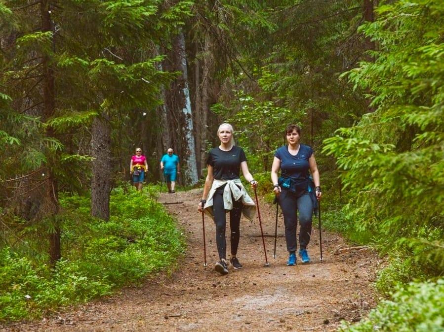 Скандинавская ходьба в парке